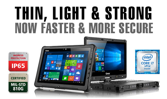 Getac F110 and V110 fully rugged tablet and convertible notebook