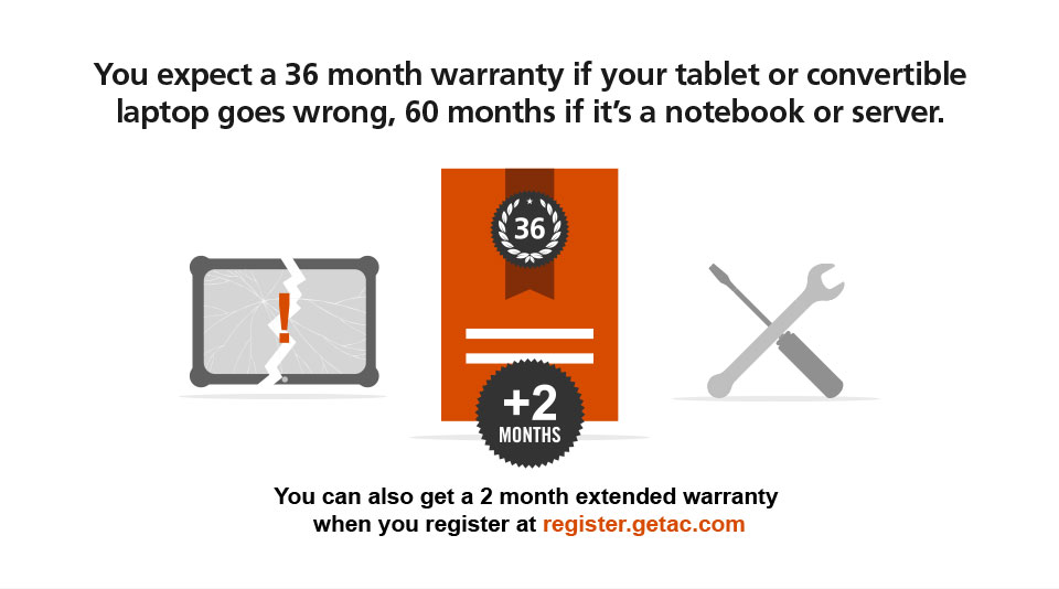 You expect a 36 month warranty if your tablet or convertible laptop goes wrong, 60 months if it's a notebook or server. You can also get a 2 month extended warranty when you register at register.getac.com